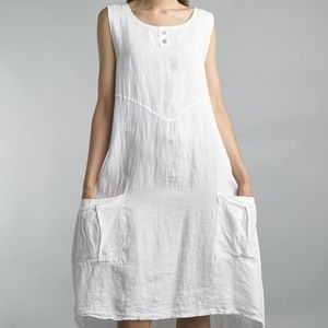 Tempo Paris White Boho Dress with Front Pockets